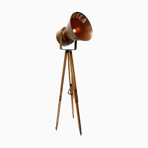 Mid-Century Industrial Brown Metal and Wooden Tripod Floor Lamp