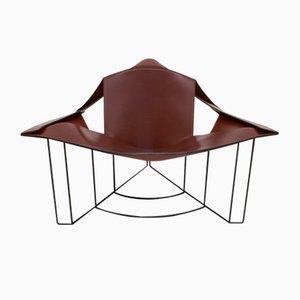 Postmoderner italienischer Leder Armlehnstuhl von Jacques Harold Pollard für Matteo Grassi, 1980er