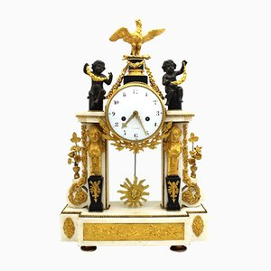 Large 18th Century Louis XVI Gilt Bronze and Marble Pendulum Clock