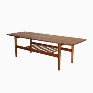 Scandinavian Rosewood Coffee Table with Magazine Rack from Samcom, 1960s