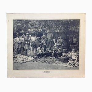 Stampa antica delle Indie Orientali bianche e nere di Jean Demmeni per Kleynenberg & Co., Olanda, 1913