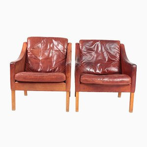 Mid-Century Danish Patinated Leather Lounge Chairs by Børge Mogensen for Fredericia, 1960s, Set of 2