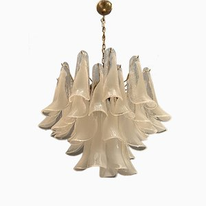 Large Murano Glass Feather Chandelier from Mazzega, 1970s