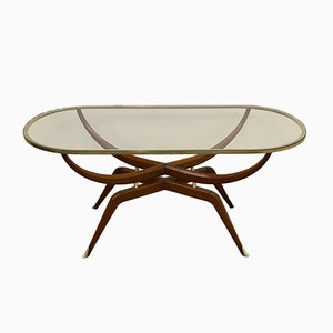 Oval Brass and Wood Coffee Table, 1950s