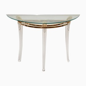 Vintage Brass and Lucite Console Table, 1980s