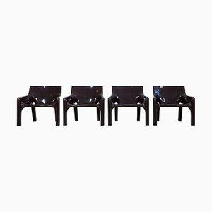 Brown plastic Model Vicario Armchairs by Vico Magistretti for Artemide, 1969, Set of 4