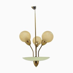 Art Deco Brass Chandelier, Germany, 1940s
