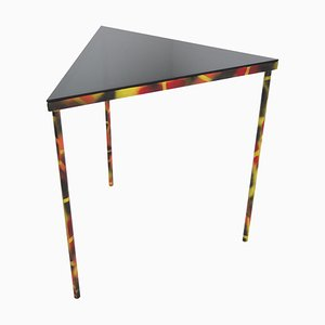 Industrial Smoked Glass and Steel Triangle Corner Side Table, 1990s