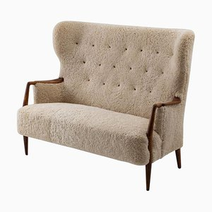 Dänisches Mid-Century Sofa mit Schafsfell oder Loveseat, 1940er