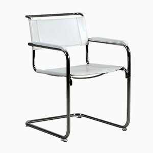 Modern White Leather S34 Chair by Mart Stam for Thonet, 1990s