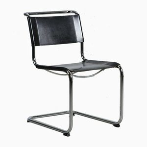 Modern Black Leather S33 Cantilever Chair by Mart Stam for Thonet, 1980s