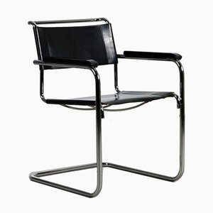 Moderner Leder S34 Stuhl von Mart Stam für Thonet, 1980er