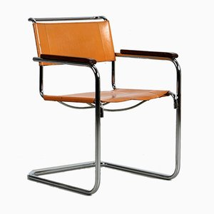 Bauhaus Beige Cognac Leather S34 Chair by Mart Stam for Thonet, 1980s