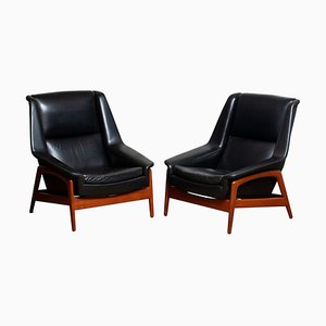 Leather and Teak Model Profil Lounge Chairs by Folke Ohlsson for Dux, 1960s, Set of 2
