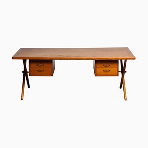 Dutch Oak Crossed Leg Directors Desk in the Style of Andreas Tuck, 1950s
