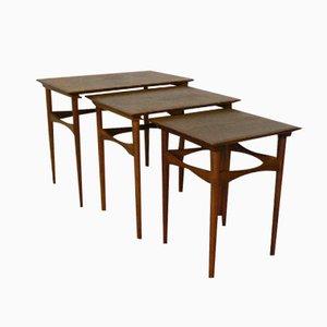 Tables Gigognes en Teck par Poul Hundevad pour Fabian, Set de 3