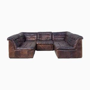 Mid-Century Danish Leather Modular Corner Sofa Set, Set of 5