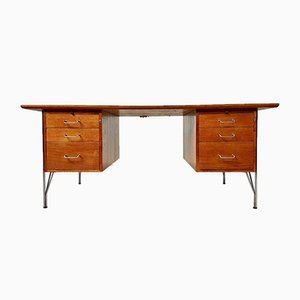 Mid-Century Danish Teak & Chrome Hairpin Double Pedestal Desk from Danflex