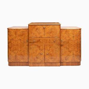 Art Deco British Walnut Cocktail Cabinet, 1930s