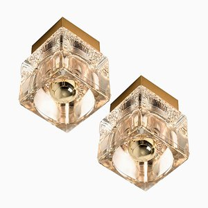Brass and Glass Cube Wall or Ceiling Lamps from Peill & Putzler, 1970s, Set of 2