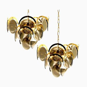 Smoked Glass and Brass Chandeliers in the Style of Vistosi, Italy, 1968, Set of 2