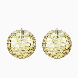 Murano Glass Pendant Lamps in the Style of Venini, 1960s, Set of 2