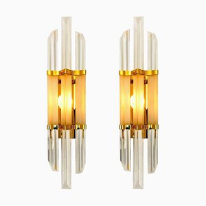 Murano Glass and Brass Sconces in the Style of Venini, Italy, 1970s, Set of 2