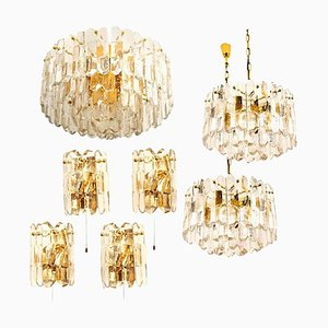 Gilt Brass and Glass Palazzo Light Fixtures by J.T. Kalmar, 1970s, Set of 7