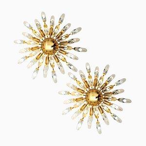 Italian Crystal and Gilded Brass Flush Mount Sconces from Stilkronen, 1970s, Set of 2