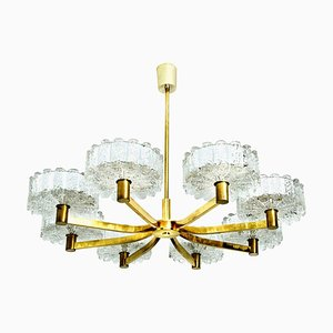 8 Icicle Glass Shades & Brass Chandelier in the Style of Kalmar, 1960s
