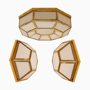 White Hexagonal Glass & Brass Flush Mounts or Wall Lights from Glashütte Limburg, 1970s, Set of 3