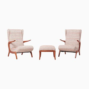 Upholstered Lounge Chair & Stool Set, Italy, 1950s, Set of 3