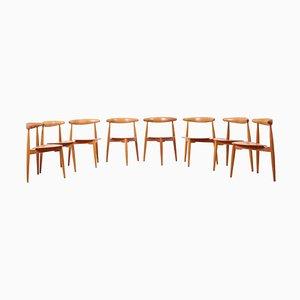 Eichenholz & Teak Heart Chairs von Hans J. Wegner für Fritz Hansen, 1952, 8er Set