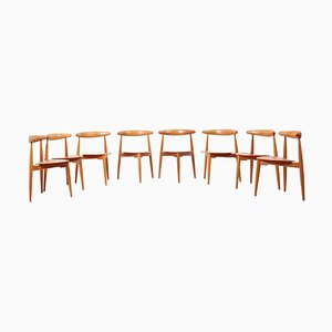 Oak and Teak Heart Chairs by Hans J. Wegner for Fritz Hansen, 1952, Set of 8