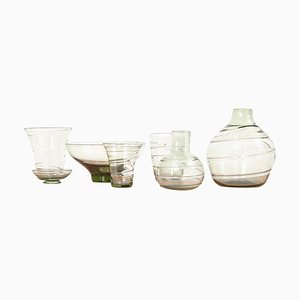 Ribbon-Trailed Glass Vases and Bowls by Barnaby Powell for Whitefriars, 1930s, Set of 7