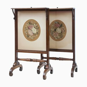 Regency Rosewood Tapestry Fire Screens, Set of 2