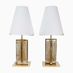 Italian Murano Glass & Clear Gold Brass Table Lamps, 2000s, Set of 2