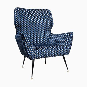 Blue, Gold, Black & White Velvet Armchair by Gigi Radice, 1950s