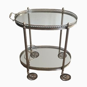 Neoclassical Style French Silver-Plated Bar Trolley from Maison Bagués, 1940s