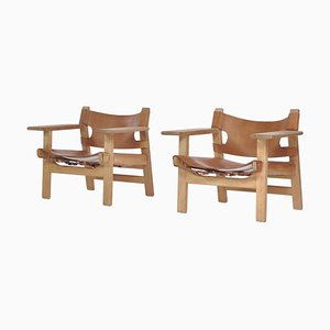 Danish Modern Spanish Chairs in Oak and Saddle Leather by Børge Mogensen, 1978, Set of 2