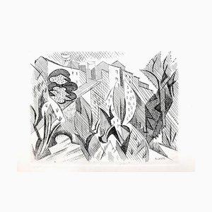 Aguafuerte cubista de paisaje de André Lhote, 1946
