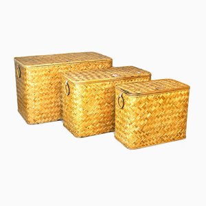 Wicker Containers with Brass Handles, 1960s, Set of 3