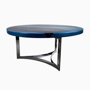 Tavolino da caffè Mid-Century in ceramica blu, 1968