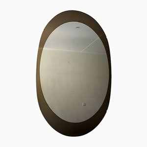 Large Mid-Century Italian Oval Mirror from Cristal Arte