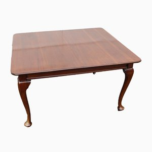 Antique Mahogany Wind out Table with 2 Leaves, 1900s