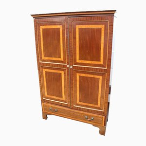 Antique 2-Door Mahogany Wardrobe with Base Drawer, 1900s