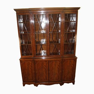 4-Door Mahogany Glazed Bookcase with Keys, 1960s