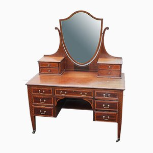Antique Mahogany Dressing Table with Mirror Stand, 1900s