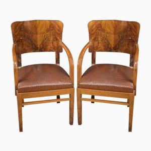 Walnut and Burl Wood Armchairs, 1960s, Set of 2