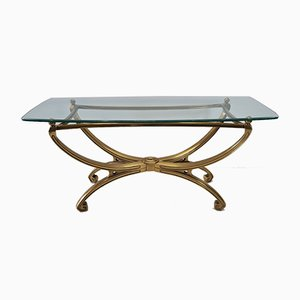French Brass Sculptural Console Table with Glass Top, 1990s